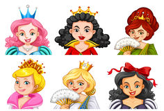 Different characters of queens and princesses Royalty Free Stock Images