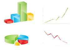 Different charts set. Different multicolor business graphs set Royalty Free Stock Images