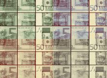 Different checkered sepia vintage Euro vs dollars background Royalty Free Stock Photo