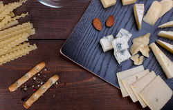 Different cheese and bread Stock Photos