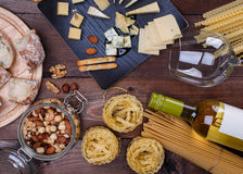 Different cheese and bread Royalty Free Stock Photo