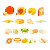 Different Cheese Icons Collection Stock Image