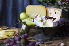 The different cheese on metal tray and fresh fruits stock photo