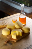 Different cheese products. Different sort of farm made cheese produced from goat milk Stock Photo