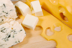 Different cheese types cloesup Royalty Free Stock Photography