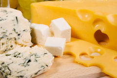 Different cheese types cloesup Royalty Free Stock Images