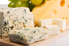 Different cheese types cloesup Stock Photos