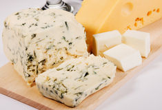 Different cheese types cloesup Royalty Free Stock Photos