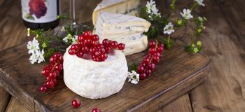 Different cheese with white and blue mold. A glass of red wine and fresh red currant berries. White flowers. Wooden background and royalty free stock photography