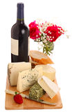 Different cheese with wine Royalty Free Stock Images