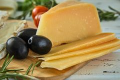 Different cheeses on table. Fresh dairy products stock photo