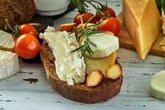 Different cheeses on table. Fresh dairy products royalty free stock image