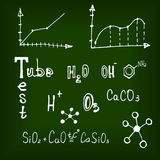 Different chemical elements on the blackboard Stock Images