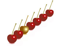 A different cherry. A golden cherry among others Stock Image