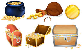 Different chests and pot of gold Stock Photos