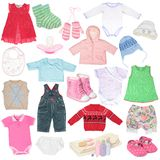 Different child`s clothes. Shoes and accessories Royalty Free Stock Photo
