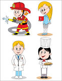Different children profession character. Four kids drawing character, boys and girl, different profession Royalty Free Stock Photography