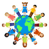 Different children standing around earth planet. Friendship and international relationships Stock Image