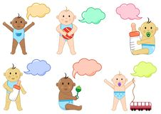 Different children with toys and dialog box,  illustration royalty free illustration