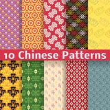 Different Chinese vector seamless patterns Royalty Free Stock Photos