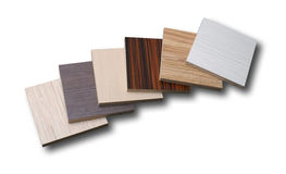 Different chipboards without edge band isolated on white backgro Royalty Free Stock Photo
