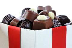 Different chocolate in box Stock Photo