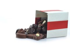 Different chocolate in box Royalty Free Stock Images
