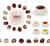 Different chocolate candies and cups of tea and coffee on white. Royalty Free Stock Photo