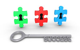 Different choices for success. Three puzzle pieces of different color with keyholes and a key of success Royalty Free Stock Images