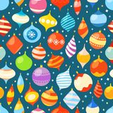 Different christmas bauble seamless pattern. Christmas vector background Royalty Free Stock Photography
