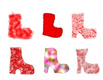 Different christmas boots royalty free stock photos