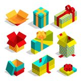 Different christmas box for gifts. Isometric pictures set Royalty Free Stock Photo