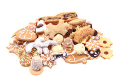 Different christmas cookies isolated Royalty Free Stock Photography