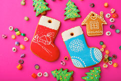 Different Christmas cookies and mixed multicolored candy Stock Photos