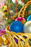 Different Christmas decorations in basket Stock Image