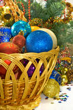 Different Christmas decorations in basket Royalty Free Stock Photography
