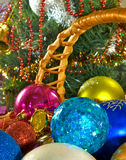 Different Christmas decorations in basket Royalty Free Stock Photos