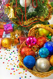 Different Christmas decorations in basket Stock Images