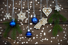 Different Christmas Decorations on Wood Stock Images