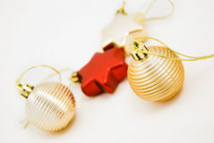 Different christmas ornaments. Christmas tree balla isolate Stock Photo
