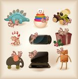 Different Christmas presents- objects stock illustration