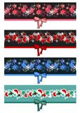 Different Christmas seamless borders Royalty Free Stock Images