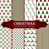 10 different Christmas seamless patterns. Endless texture for wallpaper, web page background, wrapping paper and etc. 8 different Christmas seamless patterns Stock Photos