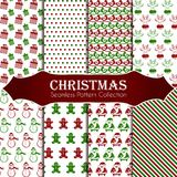 10 different Christmas seamless patterns. Endless texture for wallpaper, web page background, wrapping paper and etc. 8 different Christmas seamless patterns Stock Photography