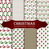 10 different Christmas seamless patterns. Endless texture for wallpaper, web page background, wrapping paper and etc. 8 different Christmas seamless patterns Stock Images