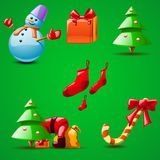 Different christmas set of stuff Royalty Free Stock Photos