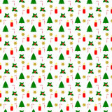 Different Christmas Symbols in seamless pattern on white Stock Images