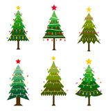 Different Christmas tree set. Star, decoration balls and light bulb chain decorated christmas tree. Flat style vector illustration isolated on white background Royalty Free Stock Photography