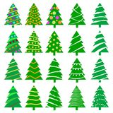 Different Christmas tree set,  illustration isolated on white background  Royalty Free Stock Photo