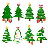 Different Christmas tree set isolated. Vector illustration Stock Photos